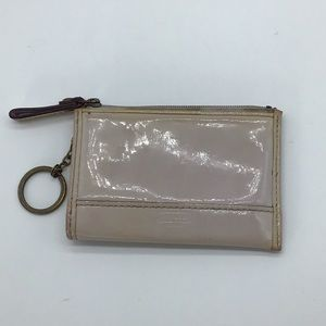 Coach patent shiny leather gray/purple wallet